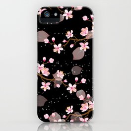 Cherry Blossoms Pink and White on a Dark night iPhone Case