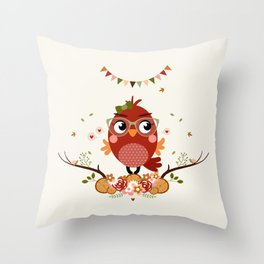 Rouge-gorge automnal Throw Pillow