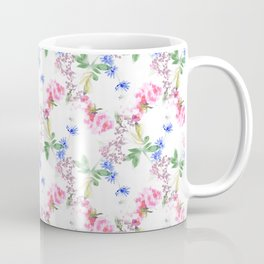 Hand painted multicolor watercolor allover seamless flowing flowers and plants on a white background Coffee Mug