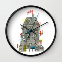 camp Wall Clocks featuring Holiday Camp by Marcelo Romero