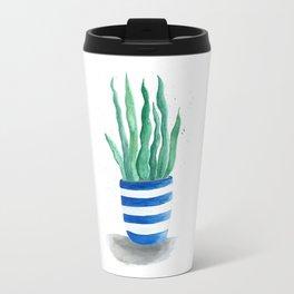 Succulent in striped pot Travel Mug