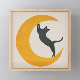 Moon and Cat Framed Mini Art Print