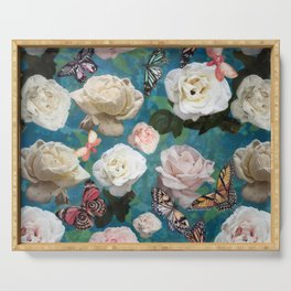 White Roses and Butterflies Serving Tray