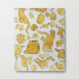 Yellow Cartoon Kitties! Metal Print