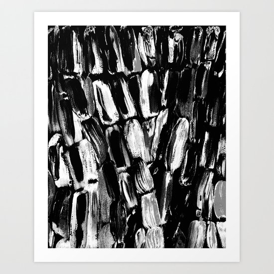 Silver Sugarcane Black and White Art Print