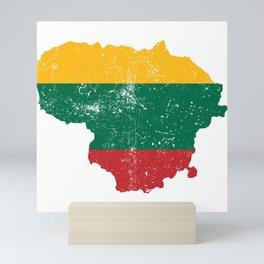 Distressed Lithuania Map Mini Art Print