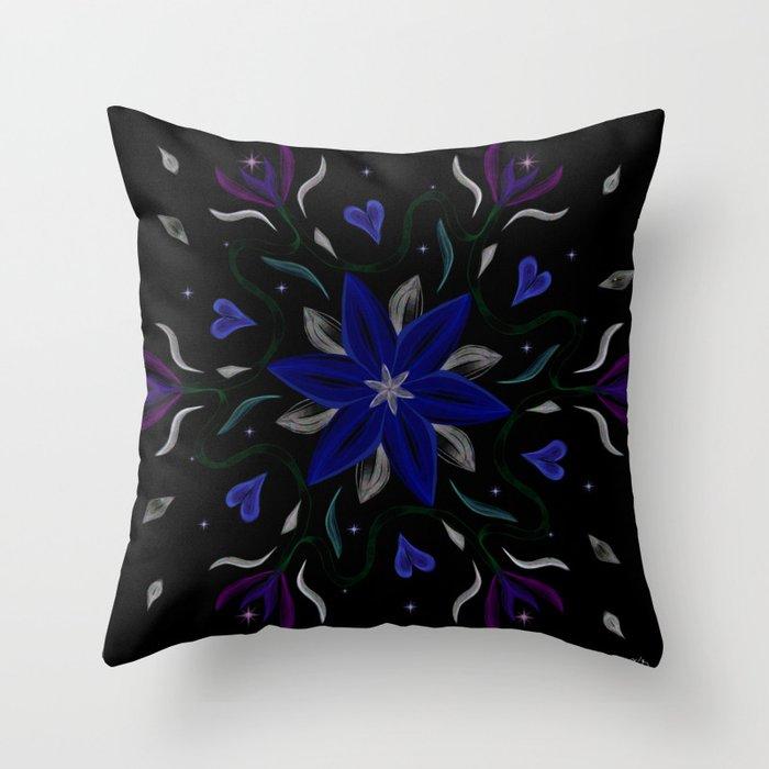 Blue Starflower Throw Pillow