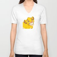 simba V-neck T-shirts featuring Simba Pixel Art by Luxatr