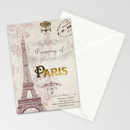 Paris Eiffel Tower French Script Blush Pink Montage Stationery Cards