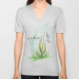 Journal Entry: Lily of the Valley Unisex V-Neck