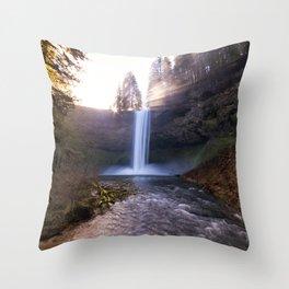 Sun Star Over South Falls Throw Pillow