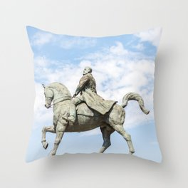 Roumania, Equestrian Statue Of Charles I, Bucarest Throw Pillow