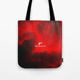 edgy red clouds gun symbol Tote Bag