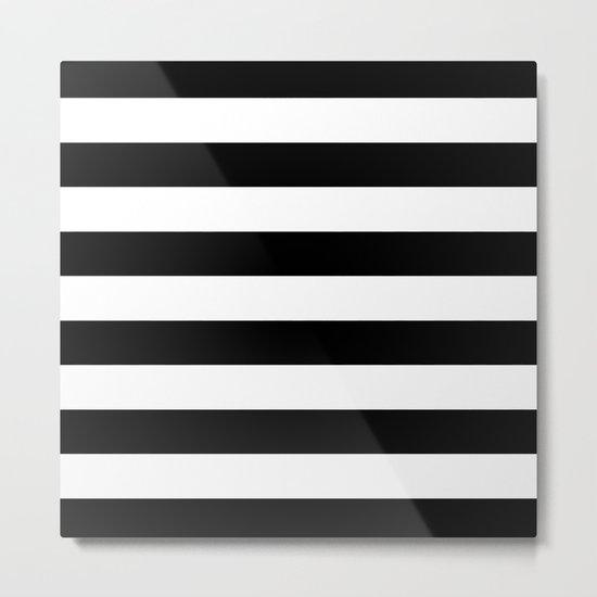Stripe Black & White Horizontal Metal Print