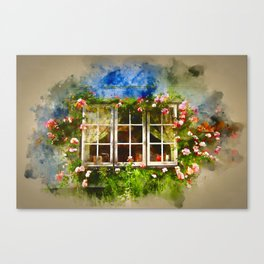Floral Window Essex England Canvas Print
