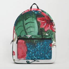 Ruby Botanical 3 Floral Watercolor Backpack