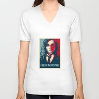 hermione V-neck T-shirts featuring Hermione by husavendaczek
