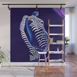1593s-AK Blue Nude Standing Before Window Blinds Wall Mural