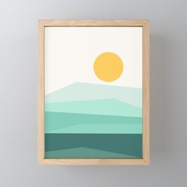 Abstract Landscape 09 Ice Blue Framed Mini Art Print