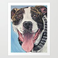 pit bull Art Prints featuring Pit Bull  by WOOF Factory