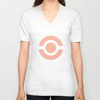 pokeball V-neck T-shirts featuring Pink Pokeball by Maru Designs
