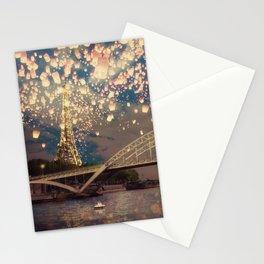 Love Wish Lanterns over Paris Stationery Cards