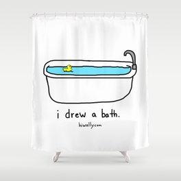i drew a bath Shower Curtain