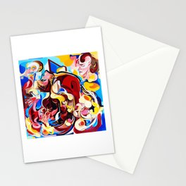 Expressive Abstract People Music Composition painting Stationery Cards