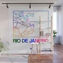 Rio De Janeiro Watercolor Street Map Wall Mural