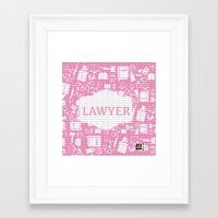 lawyer Framed Art Prints featuring Pink Lawyer by Be Raza
