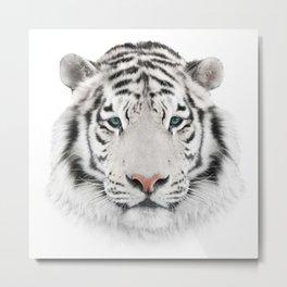 White Tiger Head Metal Print