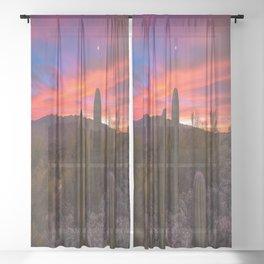 This Desert Life - Saguaro Cactus Under Venus and Jupiter During Fiery Sunrise in Arizona Sheer Curtain