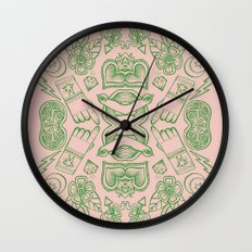 Modern Icons - Tattoo - Day of the Dead - Pink and Green Wall Clock