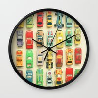 photograph Wall Clocks featuring Car Park by Cassia Beck