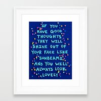 "roald dahl Framed Art Prints featuring Roald Dahl ""If you have good thoughts they will shine out of your face like sunbeams..."" by Rachel Mayer Art"