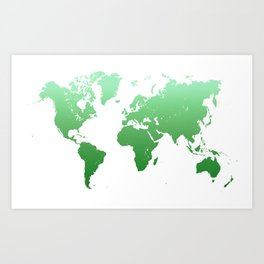Green World Map Art Print