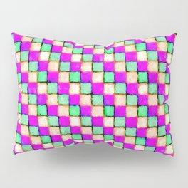 Violet Mint and Coral Patchwork Pillow Sham