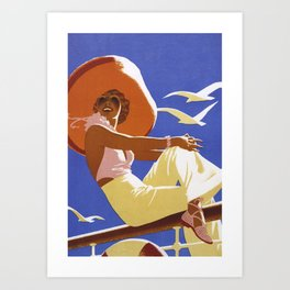 Vintage poster of woman with a hat Art Print