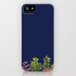 Indoor Plant Collection in Dark Blue iPhone Case