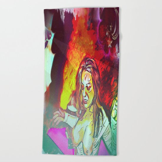 Inferno At The Starlight Revue! Beach Towel