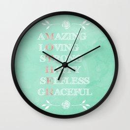 Pretty Mother's best describing words typography Wall Clock