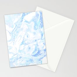 White Marble with Pastel Blue Purple Teal Glitter Stationery Cards
