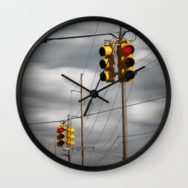 Waiting for the Traffic Light watching Gray Clouds flow by Wall Clock