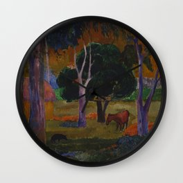"""Paul Gauguin """"Landscape with a Pig and a Horse (Hiva Oa)"""" Wall Clock"""