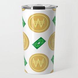 Korean won pattern background Travel Mug