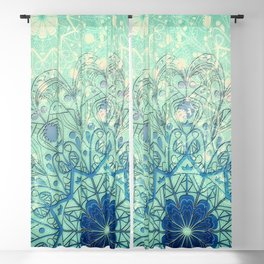 Mandala in Sea Green and Blue Blackout Curtain