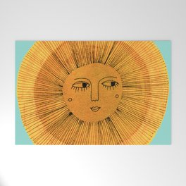Sun Drawing Gold and Blue Welcome Mat