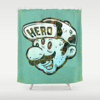 super hero Shower Curtains featuring Hero by Beery Method