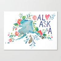 alaska Canvas Prints featuring Alaska by Grace Wolf