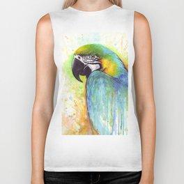 Bird Watercolor Animal Macaw Biker Tank